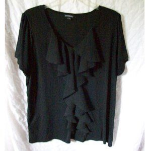 George Black Ruffle Front SS Top - Size 2XL